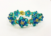 Crystal Flower Bracelet Kit with SWAROVSKI - Blue Zircon and Capri Blue
